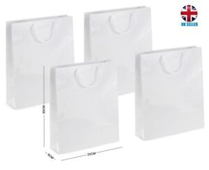 White Gloss Laminated Portrait Boutique Shop Gift Bags ~ Strong Shiny Glossy Bag
