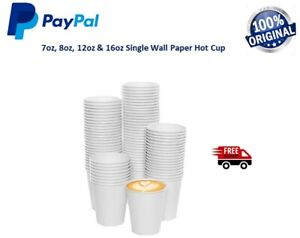 Disposable Paper Cups White 7oz / 8oz / 12oz / 16oz Hot Cold Drinks Coffee cups