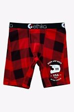 NEW Ethika x Nitro Circus Youth Boys Lumberjack Boxer Briefs - Red Plaid - Small