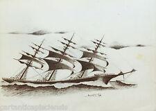 DISEGNO BOZZETTO DRAWING LAPIS SU CARTA 1900 VELIERO BARCA NAVE SHIP 18