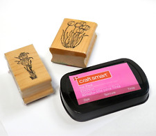 Lot of 2 Rubber Stamps Wood Mounted with Pink Ink Pad Tulips & Iris Flowers