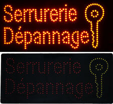 Enseigne lumineuse Panneau à LED Serrurerie Dépannage 60X30X2,5cm