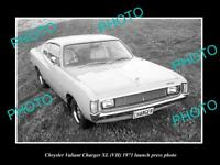 OLD 8x6 HISTORIC PHOTO OF 1971 VH XL CHRYSLER VALIANT CHARGER PRESS PHOTO 1