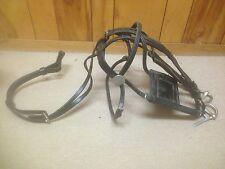 Vintage Black Leather Horse Bridle Complete W/ Bit, Rein, Tack, Blinker, Etc...,