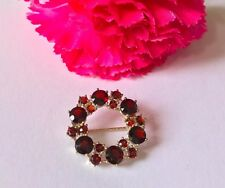 Extravagant Gold Garnet Brooch Pin 333/8 Carat Top Approx 4 CT
