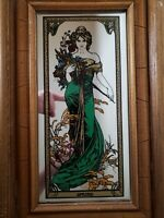 "Alphonse Mucha Spring Framed Mirror - Vintage Art Nouveau  15.5"" x 9.5"" x 1"""