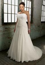 Plus Size Corset Back Bridal Gown Chiffon Wedding Dress Custom Size 18 20 22 24+
