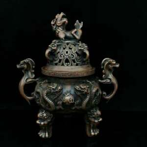 Collect Chinese Bronze Two Dragon Play Sphere  Brave Troops Pixiu Incense Burner