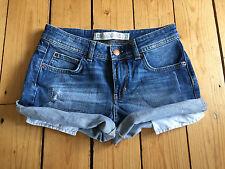 Zara Damen Distressed Denim Hotpants/Shorts EUR34