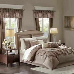 24pc Mushroom Brown Tufted Comforter Set, Sheets, Pillows, Curtains AND More