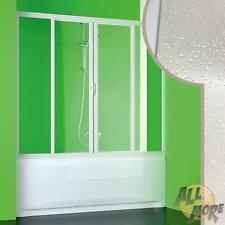 BATH SCREEN DOOR 1400 MM BATHTUB 2 SLIDING DOORS IN PVC ACRYLIC WHITE