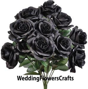 "12 Black 4"" Open Roses Artificial Silk Wedding Flowers Bouquet Fake Halloween"