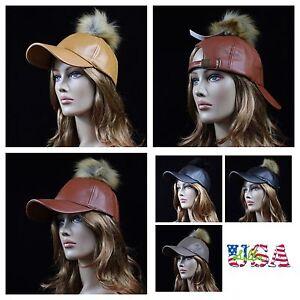 Women's Faux Leather Baseball Cap Vintage Fur Pom Hat Plain Casual Fashion Caps