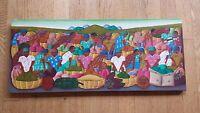 Fils Aime' Menes - Oil on Canvas - Folk-Art - Haitians Going to Market (24 x 10)