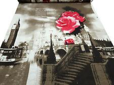 Stoff Viskose Jersey London Abstrakt Rapportdruck 93 cm braun beige rot schwarz
