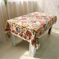 Cotton Linen Lace Sunflower Pattern Tablecloth Rectangle Wedding Table Covers