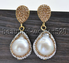 Z9153 25mm Drop White Keshi Pearl Inlay Crystal Dangle Earring
