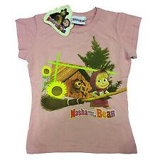 Maglietta T-shirt MASHA E ORSO in cotone rosa con stampa varie taglie da bambino