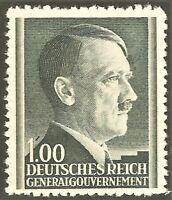 DR Nazi 3rd Reich Rare WW2 1942 Hitler Head GG Occupation Service Stamp Mi.#86
