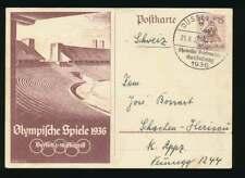 D.Reich Ganzsache P 260 Olympische Spiele 1936 DÜSSELDORF in die Schweiz (55971)