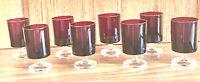 VINTAGE Arcoroc FRANCE Luminarc RUBY RED 8 oz. Goblets CLEAR Stem Set of 8