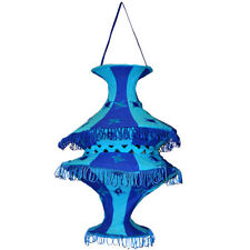 Pantalla lámpara Acordeón azul turquesa 50cm algodón patchwork iluminación India