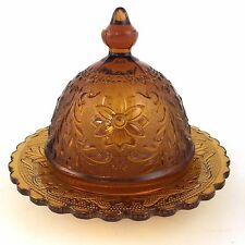 Tiara Sandwich Covered Butter Dish Amber Indiana Vintage Dome Bread Lid Domed