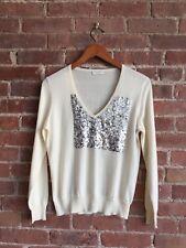 Dries Van Noten Women's Sweater, Sequin Front Sz Medium L, Wool/Cotton Ivory