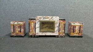 Stunning ART DECO FRENCH CLOCK Garniture in Marble with Iconic design C1925