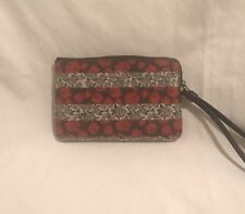 NWT Coach F30208 Corner Zip Wristlet Wallet Canvas Floral Rose Strips Red Multi