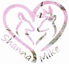 "Pink Realtree Camo Personalized Names  Deer Heart Doe Buck Vinyl Decal 5"""