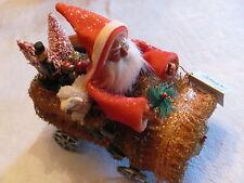 Retired Bethany Lowe Christmas German Old Style Santa Riding Loofah Sponge Car