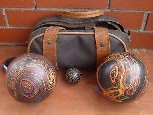 BRUNSWICK! Old Antique BOCCE BALL Lawn Bowling SET & CASE - Speckle & Swirls
