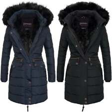 Spindle Women's Designer Warm Winter Parka Quilted Hooded Long Coat Hood Jacket