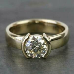 1.75 CT Round Cut Half Bezel Set Solitaire Engagement Ring 14kt Yellow Gold Over