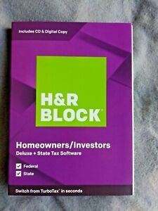H&R Block Tax Software Deluxe+State 2019 Homeowners/ Investor