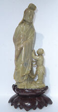 "Vintage Chinese 12"" Carved Soapstone Kwan Yin Guanyin Figure with Child As Is"
