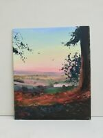 Colourful warm sunset over valley in France landscape Art original oil painting