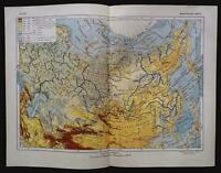 1930 MAP of RUSSIA Physical by GGU VSNH USSR Soviet Rare