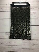 Lularoe Black Gold Metallic Print Women's Size XL Pleated Skirt NWT