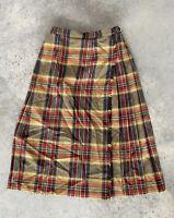 Vintage Pitlochry Plaid Scottish Wool Pleated Below Knee Herringbone Skirt 14