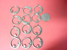 and star earring dangle a377 plated brass stamping finding quarter moon