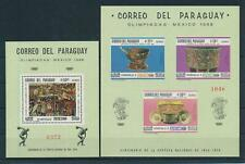 [105544] Paraguay 1967 Olympic Games Mexico Indian art 2 Souvenir Sheets MNH