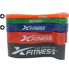 xFitness Pull Up Assist Resistance Bands For CrossFit - #1 Orange + #3 Blue Set