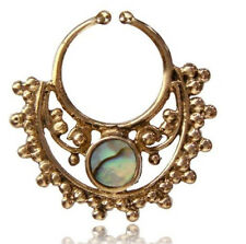 ORNATE SHELL BRASS HANGING 16G  FAUX FAKE SEPTUM 9MM RING NOSE ABALONE NOSE HOOP