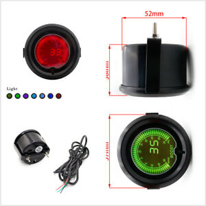 "1Pcs Universal 7 Colors LED 12V Metal 2""/52mm Diameter Digital Boost Gauge Black"