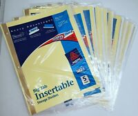 """LOT OF 10 Packs - AVERY 5 Big Tab Insertable Divider Blank 8.50"""" X 11"""" - NEW"""