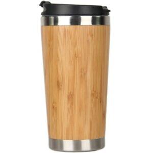5X(450Ml Bamboo Coffee Cup Stainless Steel Coffee Travel Mug With Leak-Proo K2N5
