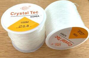 100 mtr elastisches 0,8mm Nylon Nylonschnur transparent Schmuckschnur Nylonband