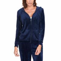 Gloria Vanderbilt Women's Ellie Velour Hoodie Jacket in Sapphire Navy, XXL